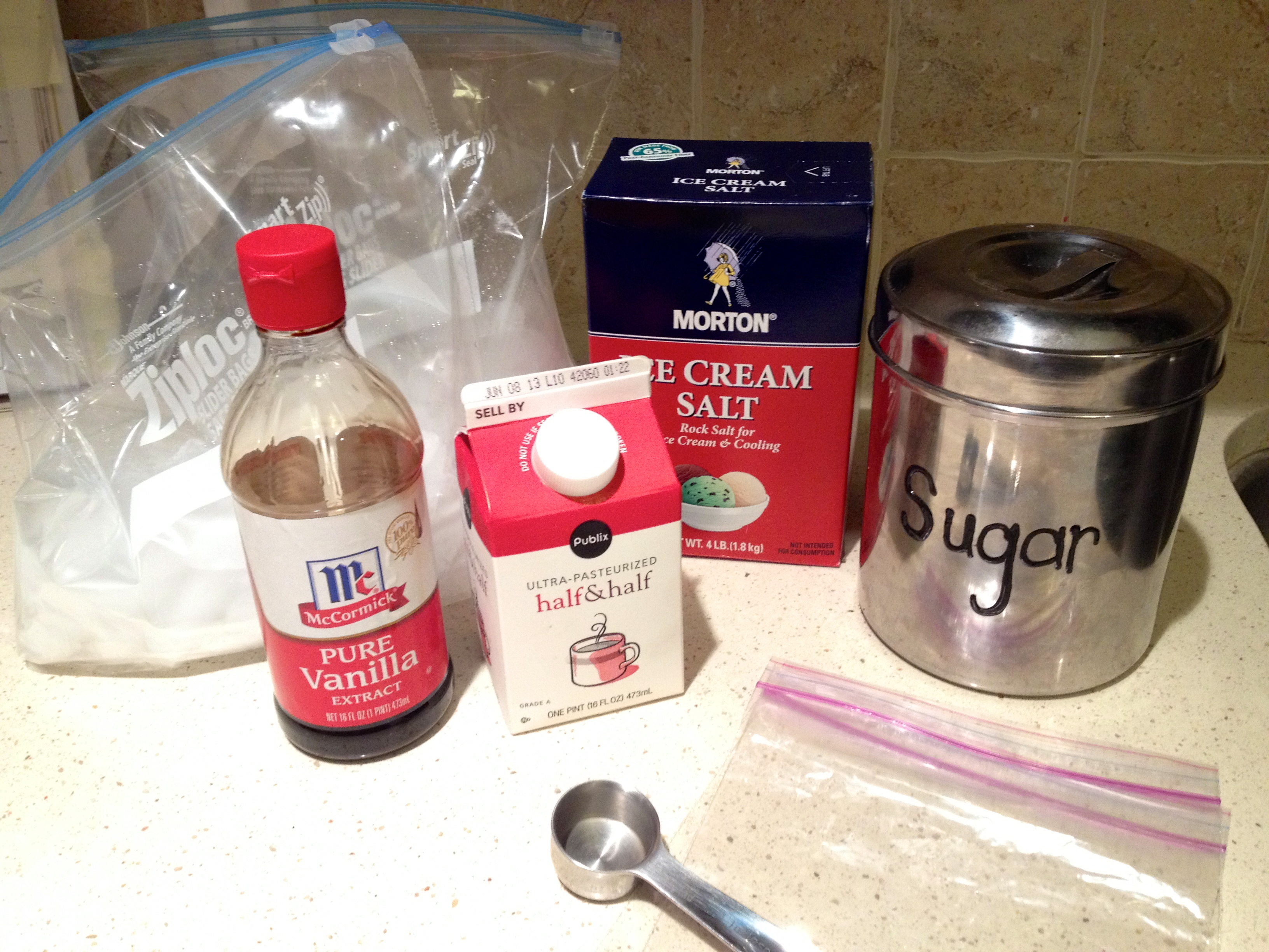 Homemade ziplock ice cream hugs n kitchen in the small ziplock combine the half and half vanilla extract and sugar make sure its all combined and that your bag is sealed tight ccuart Gallery