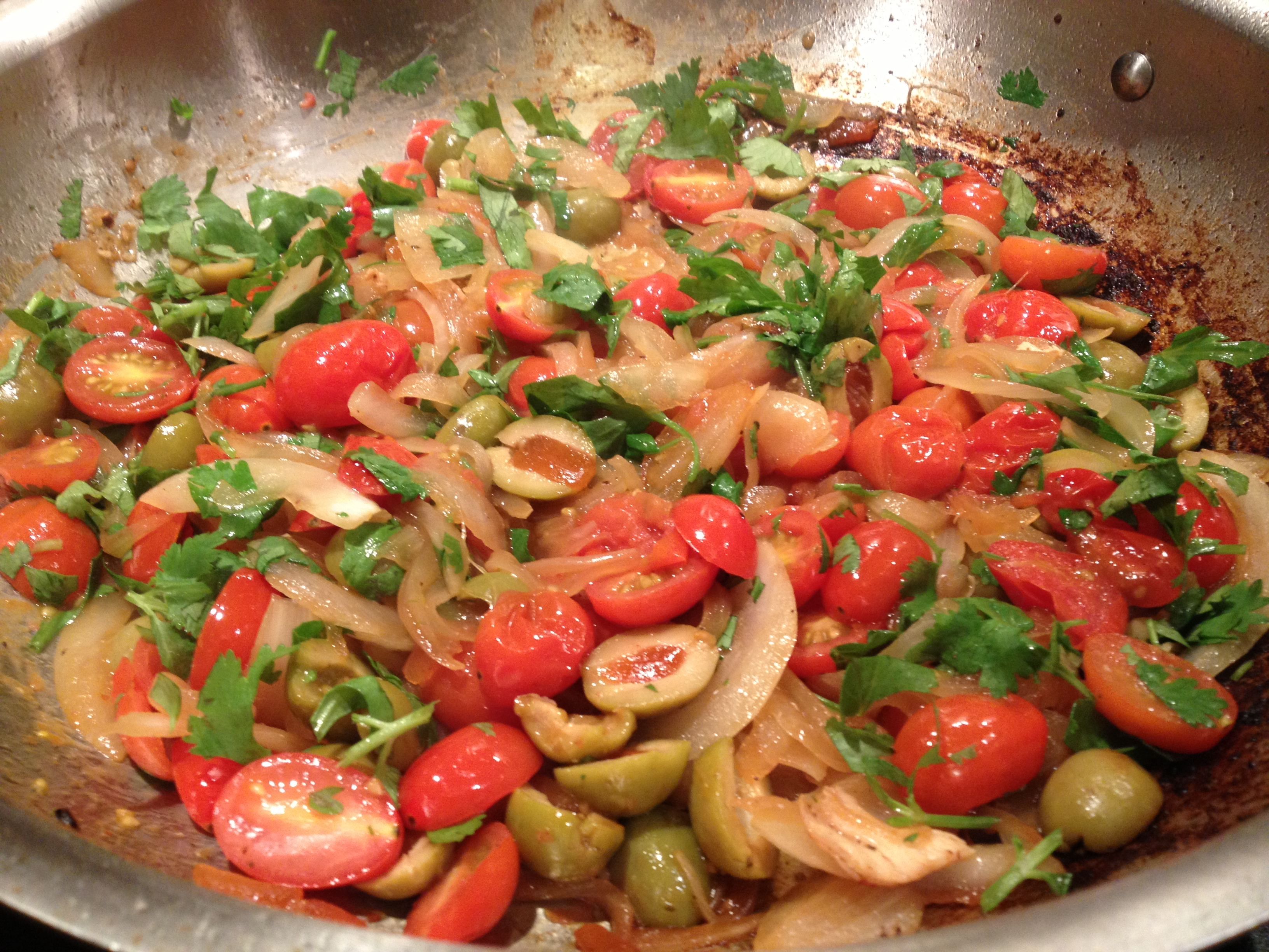 olive oil, chicken breasts, salt and pepper, onion, tomatoes, olives ...