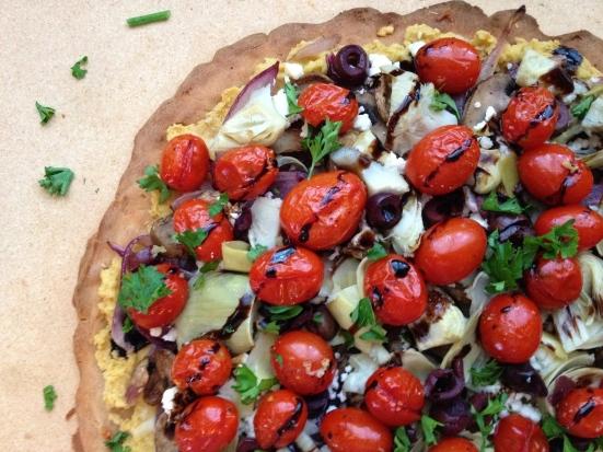 Gluten-Free Hummus & Roasted Veggie Pizza